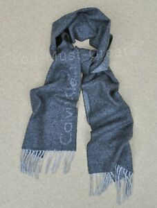 BEAUTIFULY SOFT MENS CALVIN KLEIN GREY JACQUARD CASHMERE AND WOOL SCARF
