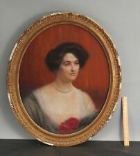 Antique 1912 CHARLES LUCIEN LEANDRE Portrait Pastel Drawing, Woman w/ Pearls NR