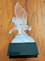 VINTAGE GLASS EAGLE SCULPTURE – CARVED GLASS EAGLE – PERCHED EAGLE ON ROCK