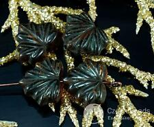 Brown Black Lined Czech Glass Maple Leaf Beads Carved 11mm x 13mm 12pcs