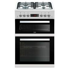 Beko KDG653W 60cm with LED Timer & Clock Double Oven Gas Cooker in White