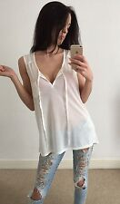 H&M BNWT Off White Casual Front Pocket Tank Top Shirt Size M