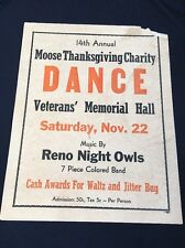 Vintage Charity Dance Poster  Reno Nevada Night Owls Colored Band