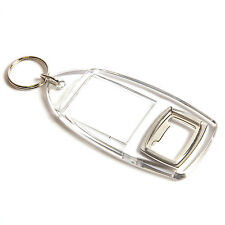 50 QUALITY BLANK CLEAR KEYRING BOTTLE OPENERS (40 x 32)