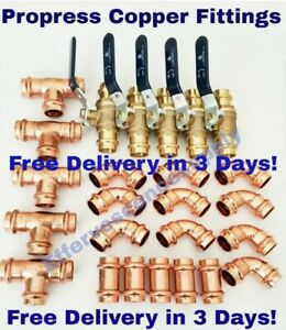 """(Lot of 25) 3/4"""" Propress Copper Fittings.Tees, Elbows, Coupling Press Ball Valv"""