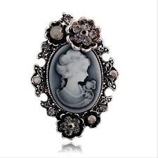 Plata Antigua Vintage Flores Victoriano Camafeo Estilo De Mujer Retrato Broche