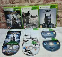 3 x BATMAN ARKHAM GAMES BUNDLE ASYLUM CITY ORIGINS XBOX 360 PAL FREE P&P