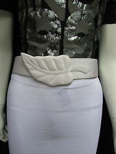 Cute Women White Silk Dress Hip Waist Fashion Belt Nature Leaf Buckle Size Small