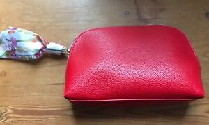 Estee Lauder red with satin bow Cosmetic Make up Bag Case Travel Toiletry new