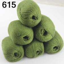 6ballsX50g luxurious Pure 100% Soft Cashmere Hand Knitting Yarn 615 Olive Green