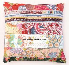 Indian Hand Kantha Cushion Cover Cotton Patchwork Sofa Pillow Case Home Decor