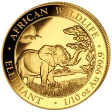 100 Sh Shilling 1/10 oz 999 Gold Goldmünze Somalia Elefant Wildlife 2019
