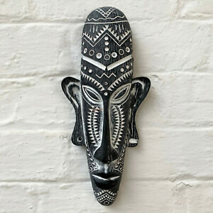 Resin Black Aztec African Tribal Face Mask Wall Mounted Sculpture Decoration New