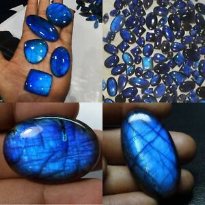 1 Pc Natural Blue Labradorite Stone Smooth Free size Cabochon for jewelry