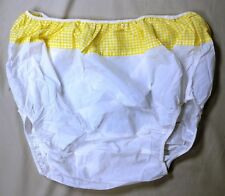NEW Adult Yellow Cloth & White Vinyl Plastic pull on pants Diaper Cover XL