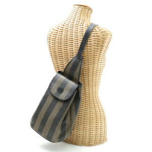 FENDI One Shoulder Bag Pequin Shoulder Bag Khaki Brown Leather PVC