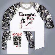 MERCYFUL FATE, US Tour 84, White Camo Sleeve Baseball T-SHIRT, SIZE: XL B3-06
