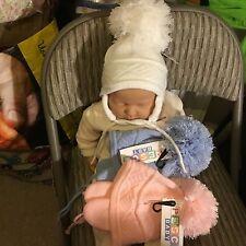 Baby Babies Bobble Hat Pom Pom Pink White Blue Boys Girls Winter 0-3 3-6 Months