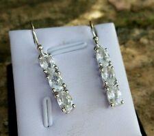4.73 cts Genuine Ratanakiri Zircon Drop Earrings in 925 Sterling Silver