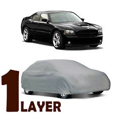TRUE 1 LAYER GRAY FITTED CAR COVER OUTDOOR WATER SUN RESISTANT for DODGE CHARGER