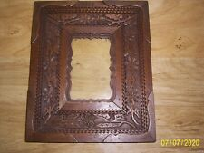 New Listing1917 Tramp Art Picture Frame with Flowers
