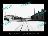 OLD LARGE HISTORIC PHOTO OF ESPANOLA NEW MEXICO THE RAILROAD DEPOT STATION c1940