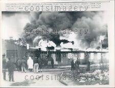 1957 Firemen Fight Oil & Rubber Storage Blaze South Amboy NJ Press Photo