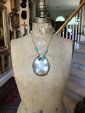 ALEXIS BITTAR Taupe Lucite Turquoise Gold Tone Necklace, HUGE Pendant!!!