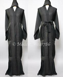 Dubai Open Pleated Abaya Kimono Cardigan Muslim Women Maxi Dress Black