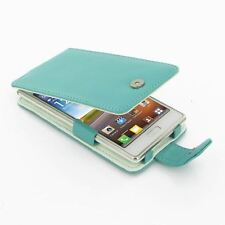 Pdair Leather Flip Case Cover for LG Optimus L7 P700 + Belt Clip, Aqua Blue
