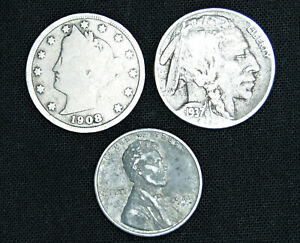 Liberty V Nickel, Buffalo Nickel, and 1943 S Steel Wheat Penny - 3 coin lot