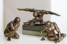 moderne statue sculpture Workout Lot de 3 avec finition en bronze poly 11-17cm