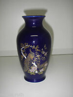 "Oriental VASE Porcelain Cobalt Blue gold Flower Bird Peacock 7¼"" hand decorated."