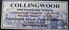 2010 COLLINGWOOD MAGPIES 3D Image Premiers Silver  Plaque F/Post