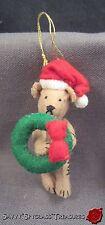 OOAK Signed MM Hand Crafted Miniature Felt Jointed Teddy Bear Santa Hat Wreath
