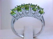 $788 DAZZLING! 10K 5 STONE ANNIVERSARY LIME GREEN PERIDOT FILAGREE GALLERY RING