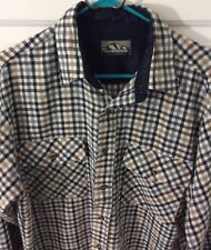 Backpacker Mens Backpacker Flannel Shirt Long Sleeve Size Large White Grey Gold