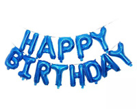Royal Blue Happy Birthday Balloons Banner Bunting Party Decoration Inflating