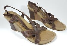 Hush Puppies strappy brown leather wedge sandals uk 6 eu 39