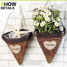 Metal Hanging Flower Plant Pot Planter Basket Country Garden Style wicker rattan