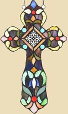 NEW Handcrafted Tiffany Style Fleur-de-lis Stained Art Glass Cross Window / Wall