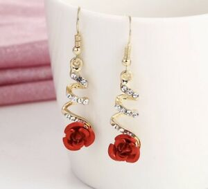Ladies Luxurious Red Rose Flower Crystal Gold Stunning Earrings With Gift Bag