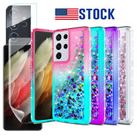 For Samsung Galaxy S21 Ultra 5G S20 FE Liquid Bling Case Lens & Screen Protector