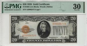 1928 $20 GOLD CERTIFICATE NOTE FR.2402 AA BLOCK PMG VERY FINE VF 30 (471A)