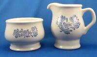 Pfaltzgraff Yorktowne Creamer & Sugar Bowl (No Lid) Off White Stoneware Blue