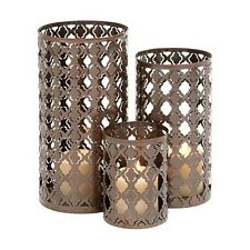 Deco 79 27521 Quatrefoil Metal Candle Holder 12 by 10 by 6-Inch Bronze Set of 3