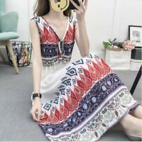 Womens Long Dresses Boho Maxi Printed Floral Korean Slim Casual Occident Summer