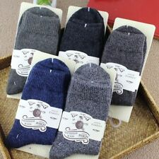 5 Pairs Men's 100% Wool Cashmere Warm Solid Casual Sports Socks Winter 7-11