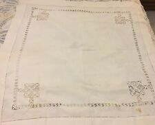 """Antique turn of the century  circa 1900 34"""" white table cloth with Drawn work"""
