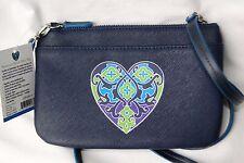 NWT Brighton Navy Blue Summer Heart  Mini Shoulder Bag